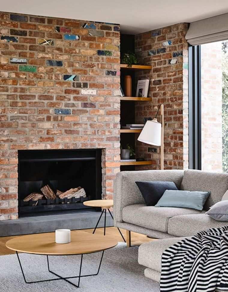 cheap dco mur effet pierre et chemine de salon en brique rouge expose with mur brique rouge interieur