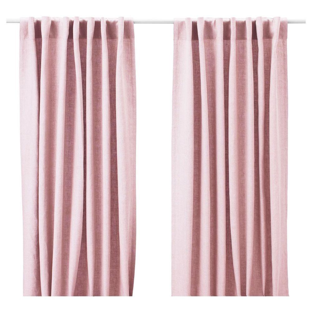 Light pink curtains - Ikea Aina Pair Of Curtains Linen Drapes 2 Panels 98 Light Pink Rose