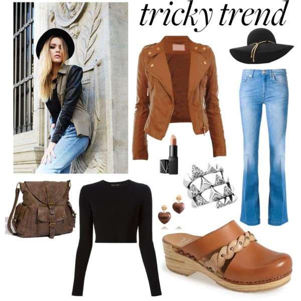 Tricky trend cute clogs by adelaide-mikyla on Polyvore featuring Proenza Schouler, 7 For All Mankind, Dansko, T-shirt & Jeans, House of Harlow 1960, Tory Burch, Lanvin and NARS Cosmetics