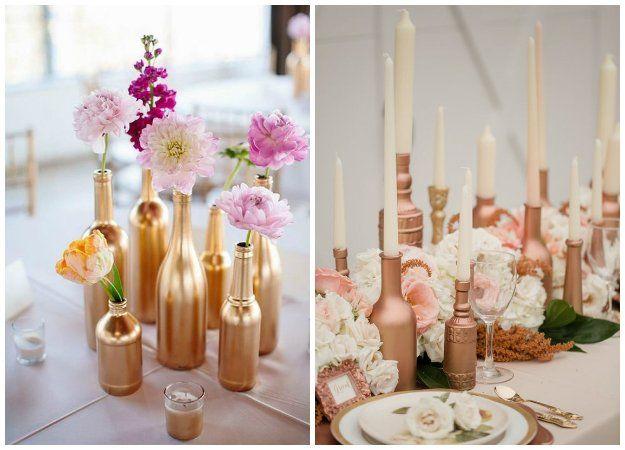 bouteilles peintes couleur cuivre d coration de table de mariage mariage pinterest. Black Bedroom Furniture Sets. Home Design Ideas