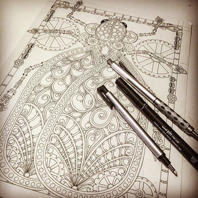 Steampunk Azalea Lace Bug Finis! #steampunk #coloringbook #art #illustration