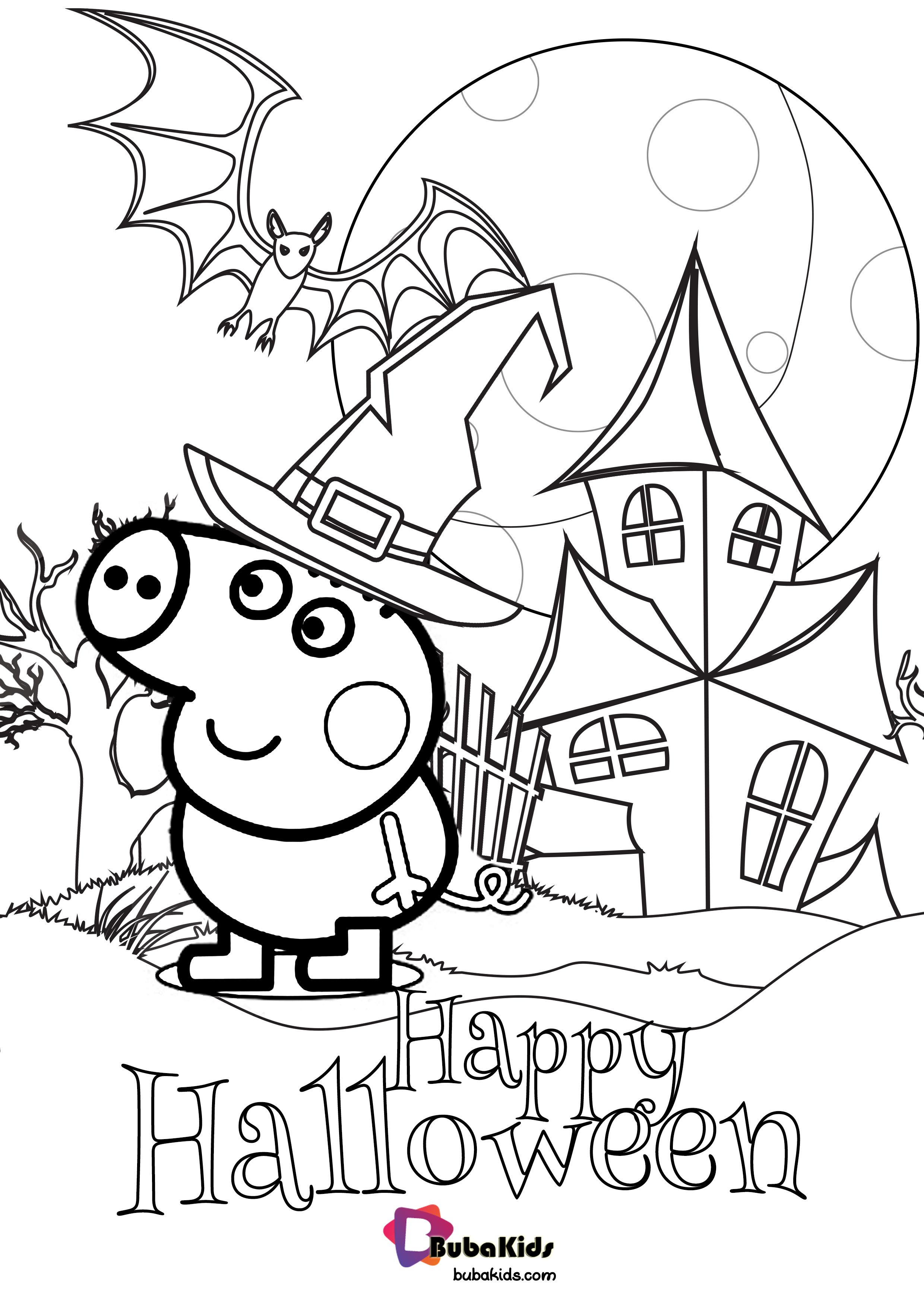 Peppa Pig Happy Halloween Coloring Page coloringpage