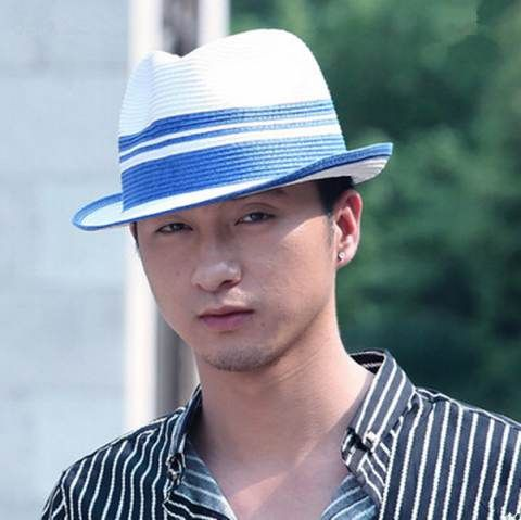 986ee9ee265 Blue and white striped panama hat for men UV floding sun hats beach wear