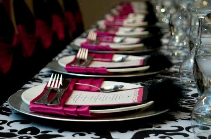 pink black white damask wedding Wedding Pinterest Damask