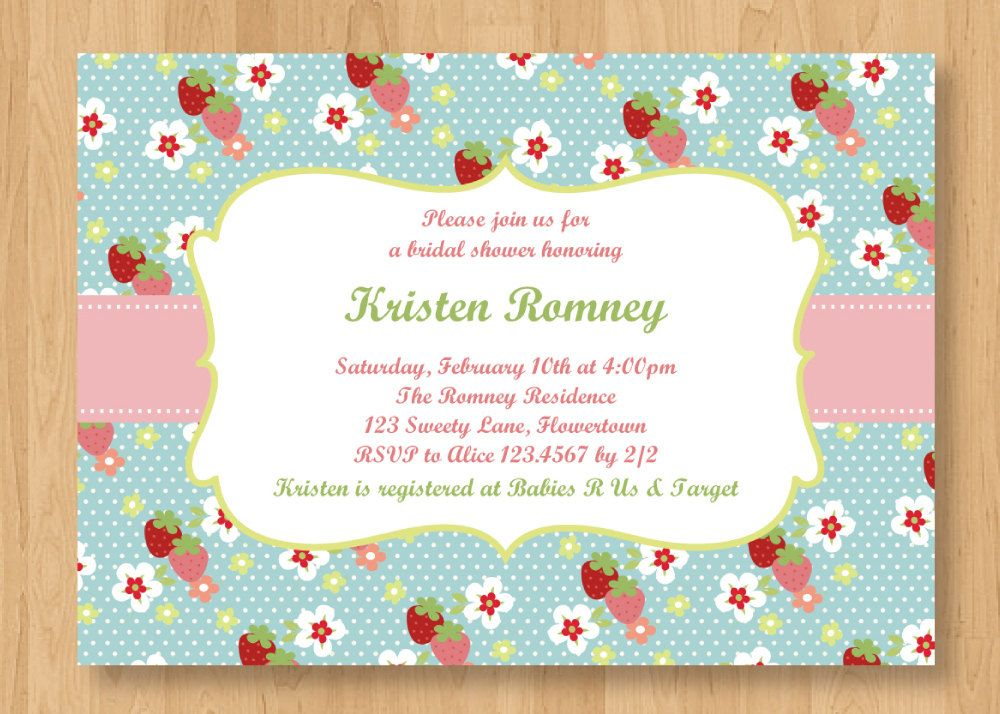 Wedding Invitation Registry Wording: Strawberry Bridal Shower/ Baby Shower Invitation Digital