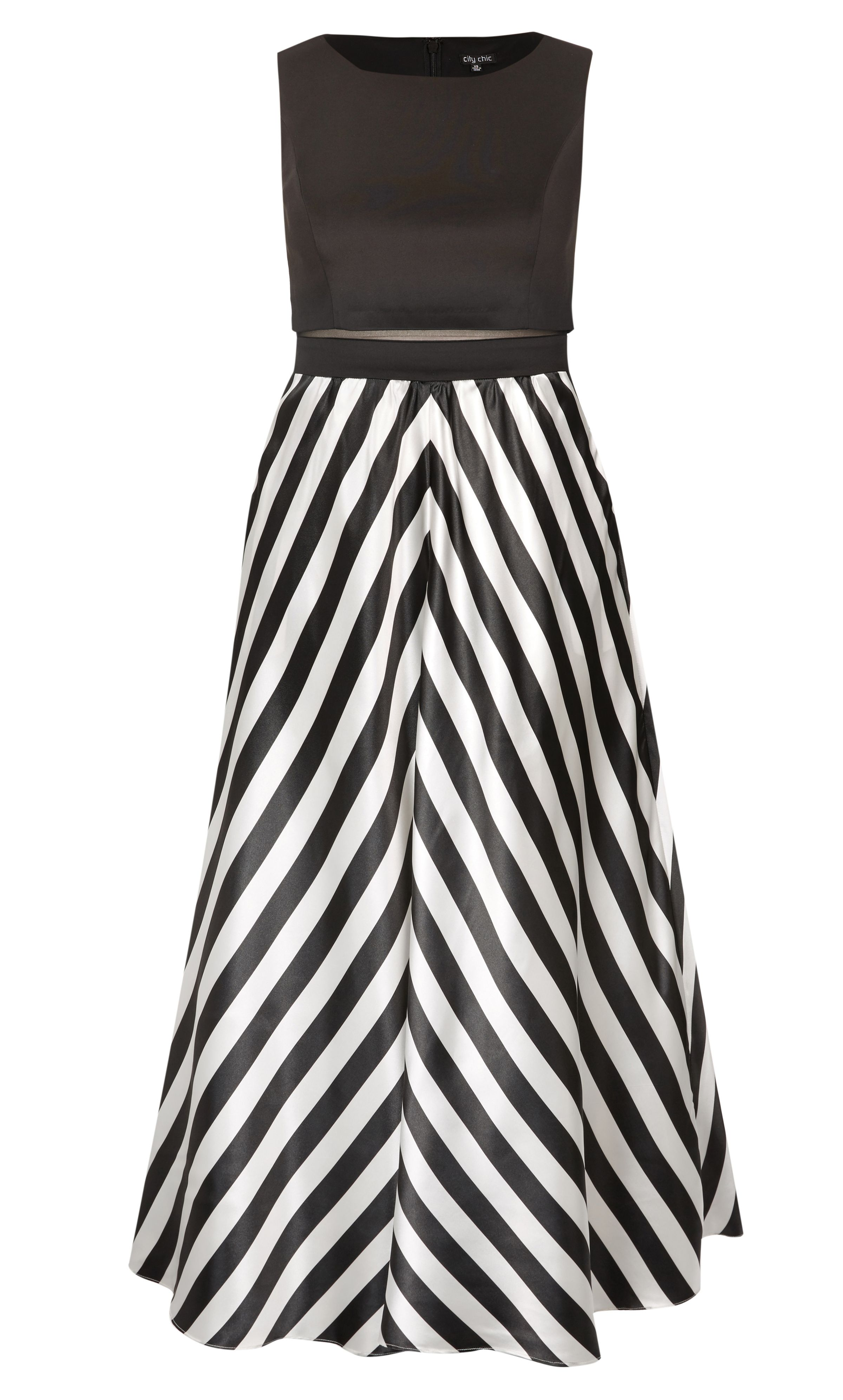 City Chic Satin Chevron Maxi Dress Womens Plus Size Fashion