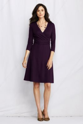 fb21c8f0df4f Women's 3/4-sleeve Ponté Half Band Wrap Dress from Lands' End | My ...