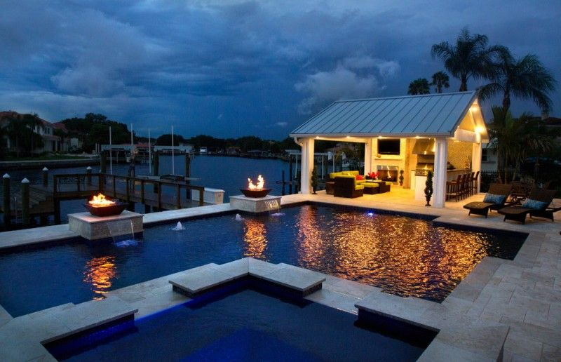 open pool house. Open Pool House With Kitchen, Bar, TV, Fireplace, Couch Set Of Getting
