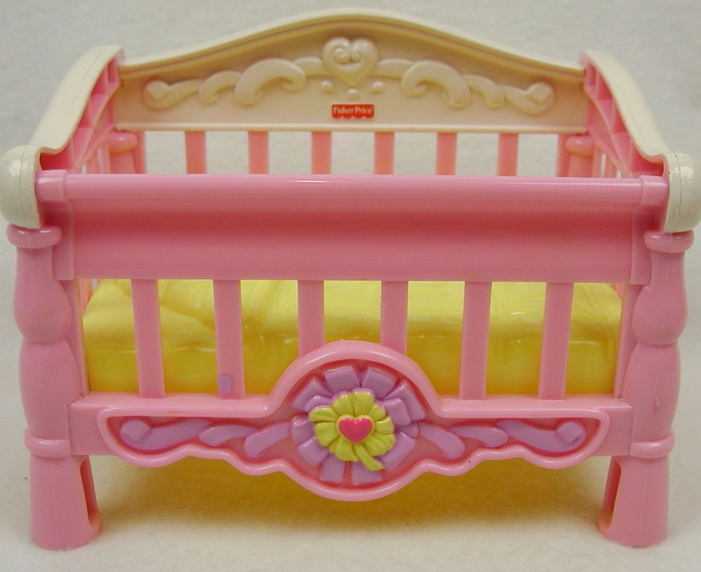 Fisher price doll house furniture - Fisher Price Baby Doll Crib Dollhouse Sized Pink White X X Furniture