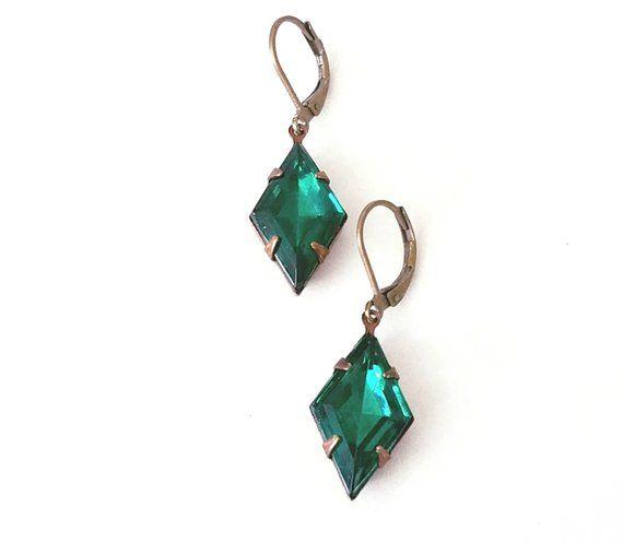 Emerald Green Earrings Dangle Etsy