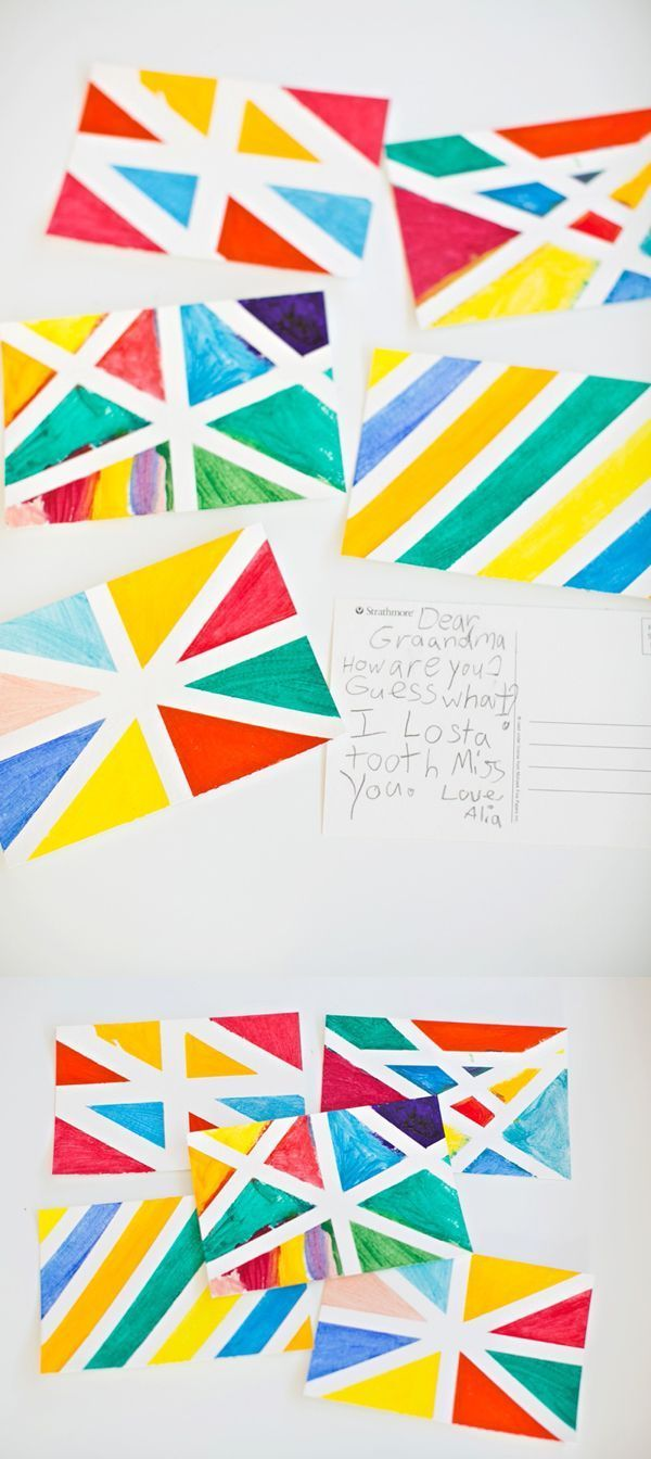 Make Watercolor Geometric Postcard Art Postcard Art Art For