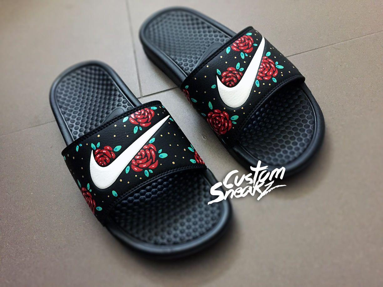 Womens Nike Slides Sandals, Custom Nike Benassi Sliders, Floral, Roses,  Swoosh Slide Sandals. Nike Slide SandalsFlip Flop SandalsShoes ...