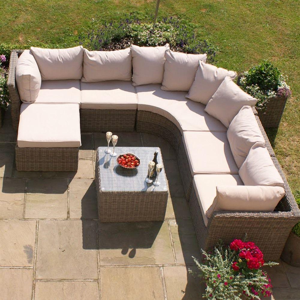 Maze Rattan Winchester Modular Rounded Corner Sofa Set Internet Gardener