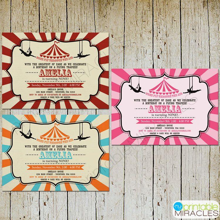 Trapeze birthday invitation, Printable circus birthday invite card ...
