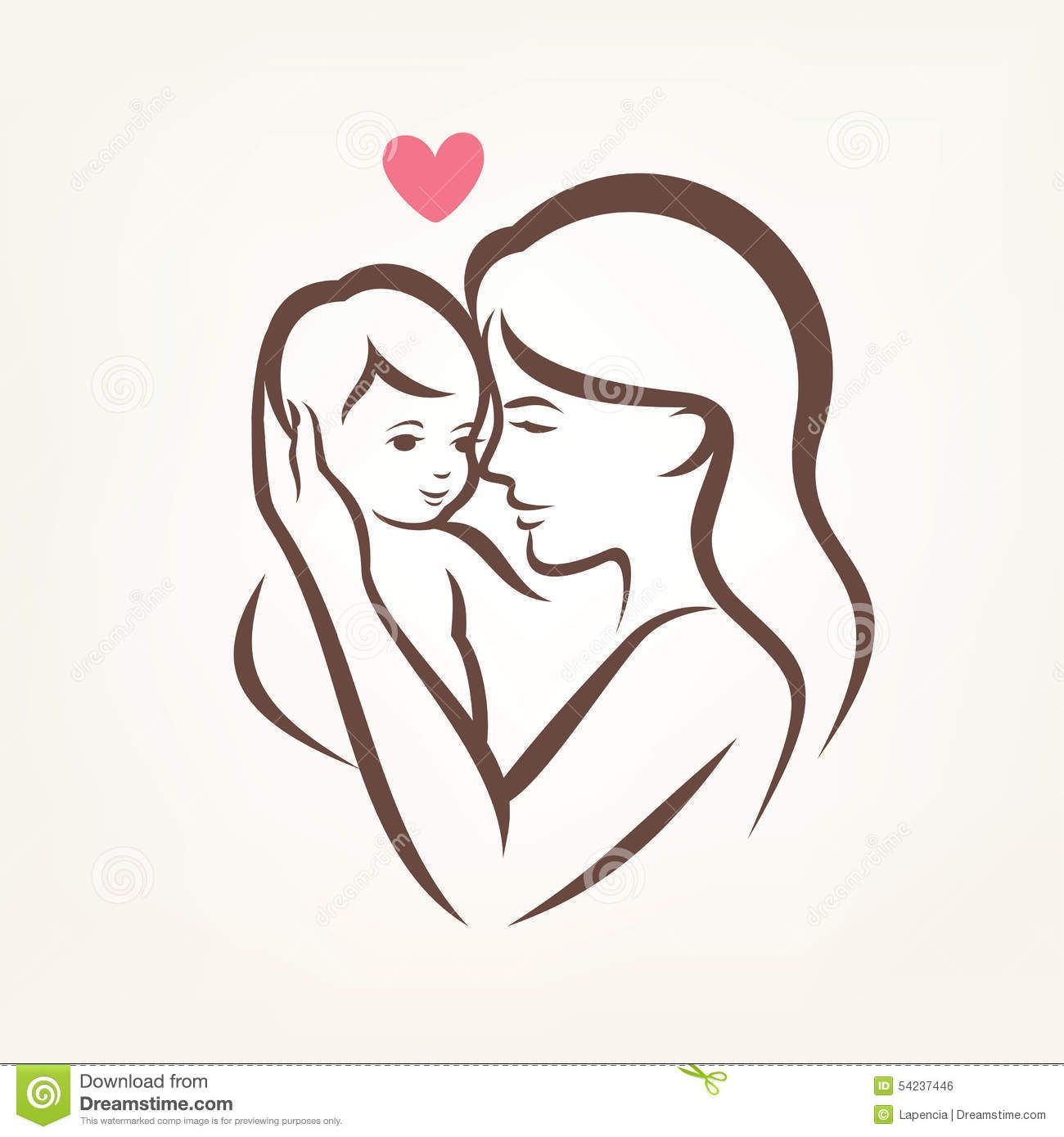 Mother and baby silhouette mother and son stylized vector silhouette outlined sketch of mom and