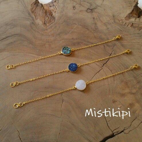 Bracelet palet d'agate druzy