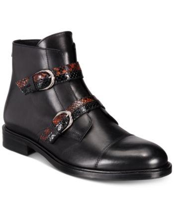 50b1f0d391f Roberto Cavalli Men's Cap-Toe Boot with Snakeskin Buckle - Black ...