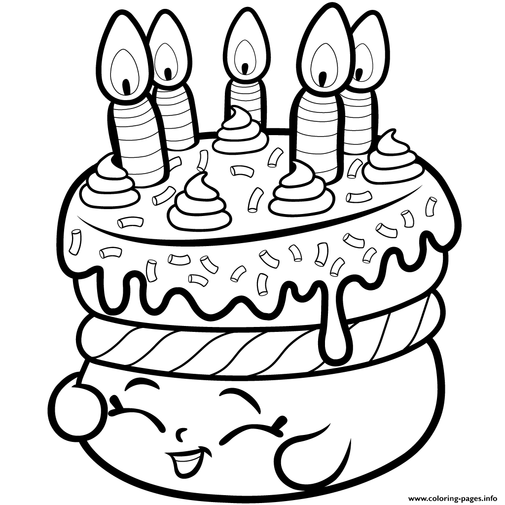 Colouring in birthday cake - Print Cake Wishes Shopkins Season 1 From Coloring Pages