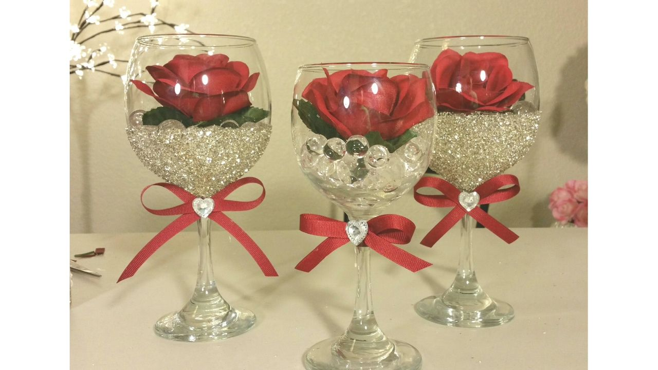 These Wine Glasses Can Be Used To Decorate A Table For Two Office Or They Any Home Decor Were From The Dollar Tree