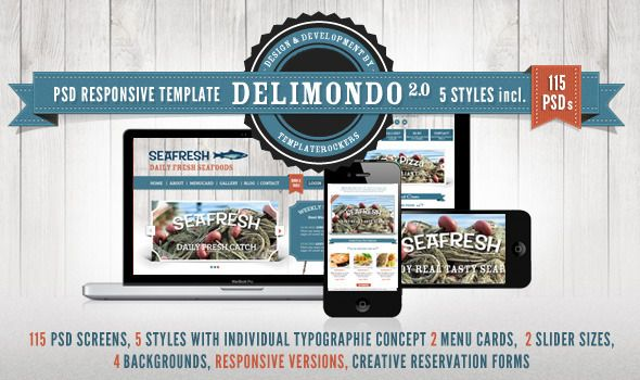Delimondo Responsive PSD Restaurant Template Psd templates - free reservation forms