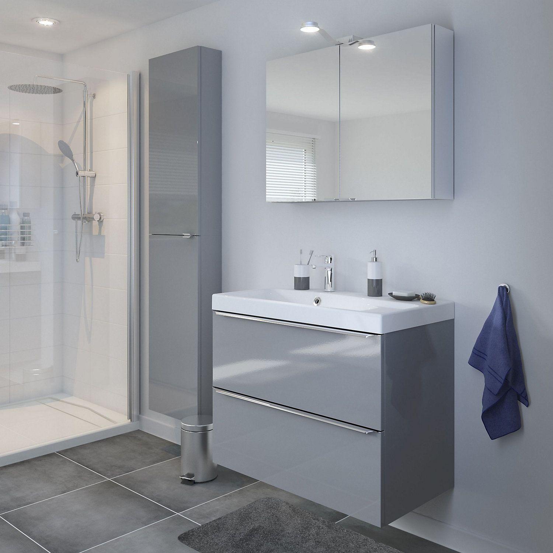 Cooke Lewis Imandra Gloss Grey Wall Cabinet W 400mm Vanity Basin Goodhome Taupe Walls