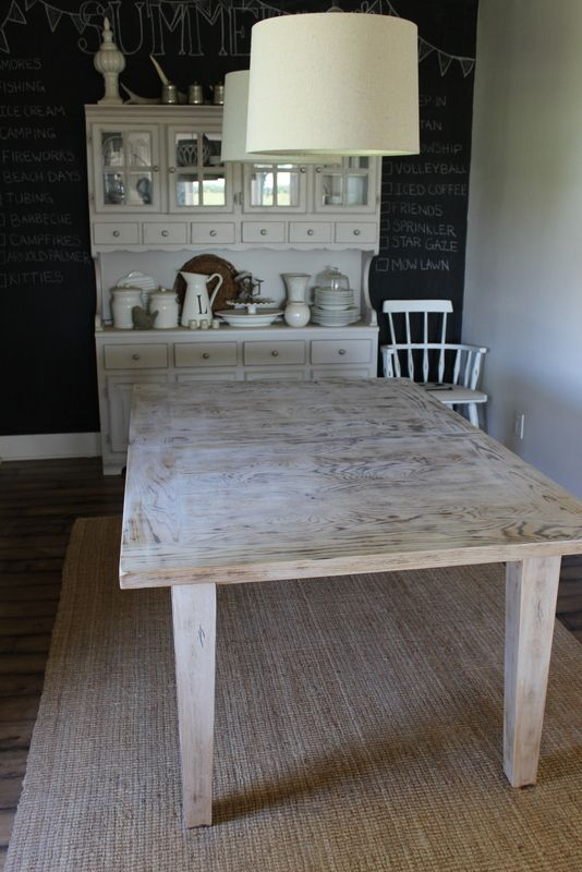 white wash dining room table. white wash table and chalkboard wall  White Washed Pinterest