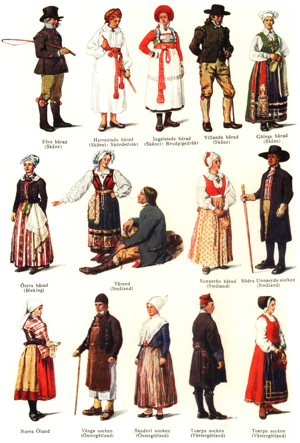 Swedish National Costumes In Each Other Of Level Of Society And Jobs Danish Culture Folk Costume Scandinavian Folk Art