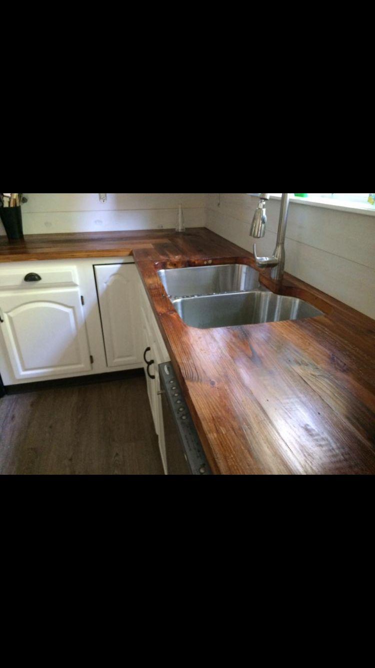 Merveilleux Reclaimed Heart Pine Countertops