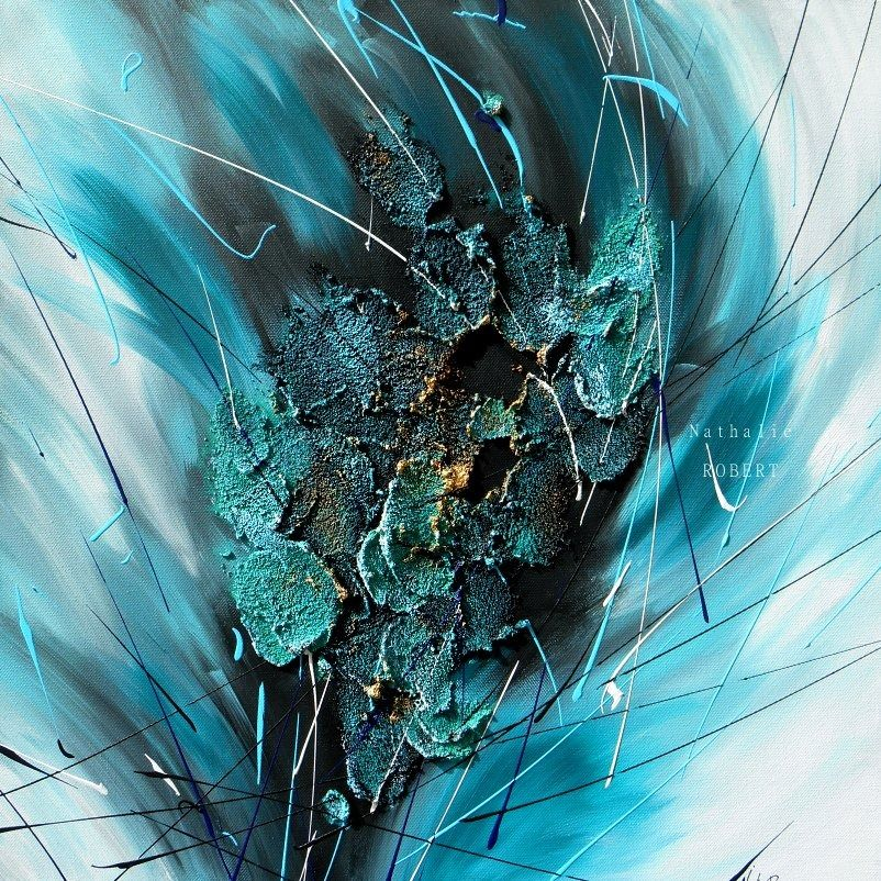 tableau peinture bleu canard