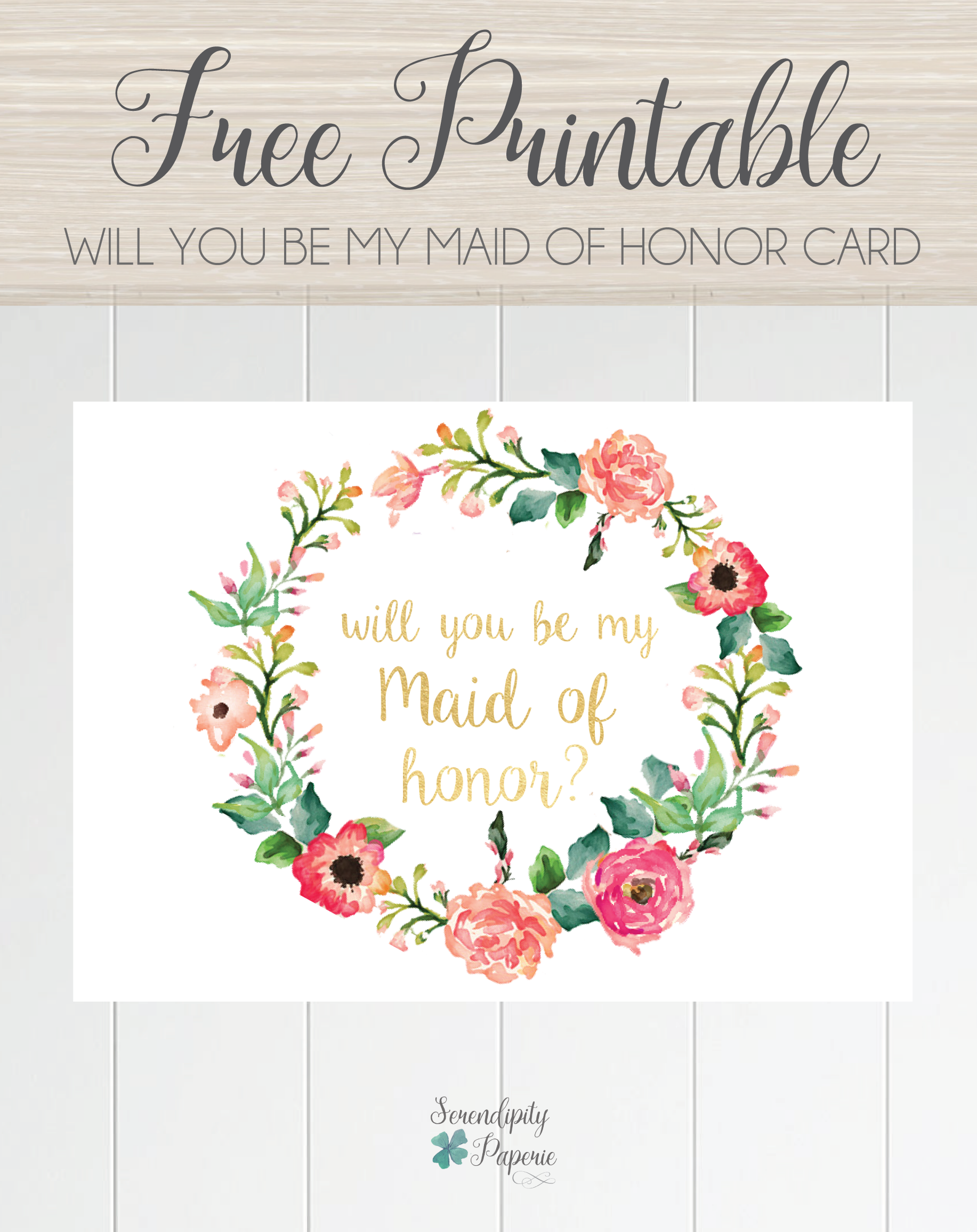 image about Free Printable Bridesmaid Proposal identify Totally free printable will by yourself be my maid of honor card, floral