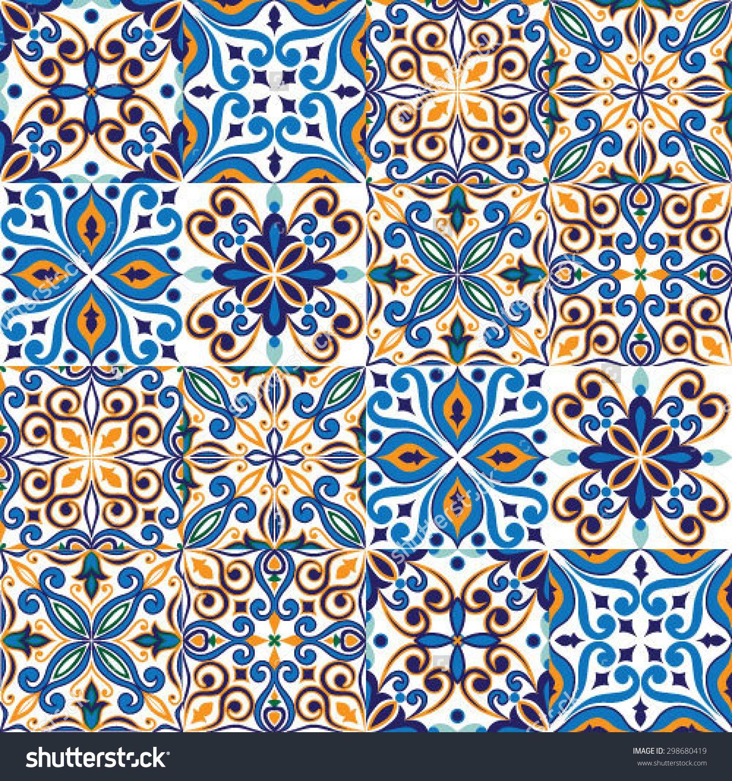 Vector of moroccan tile seamless pattern tile for design tile - Seamless Tile Background Blue White Orange Arabic Indian Patterns Mexican Talavera Tiles Stock Vector Illustration 298680419 Shutterstock