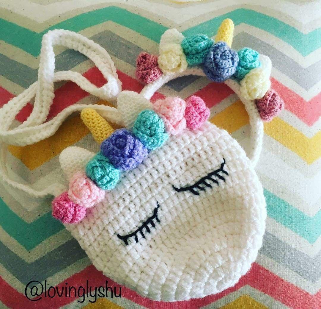 Unicorn Bow Unicorn Purse Unicorn Gift Unicorn Crocheted Purse Girls purse Girls bows