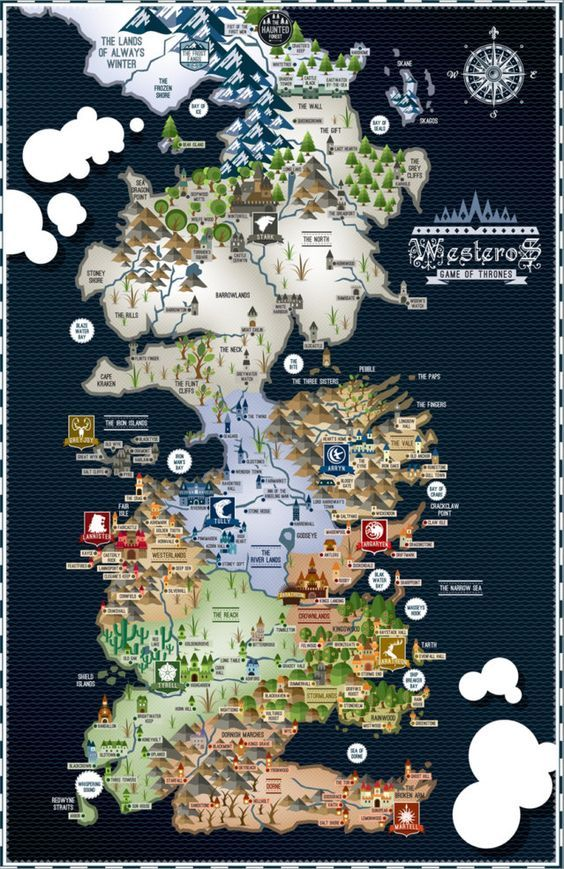 karte got Game of Thrones – Westeros Map – 17×11 Poster | 009 | Pinterest