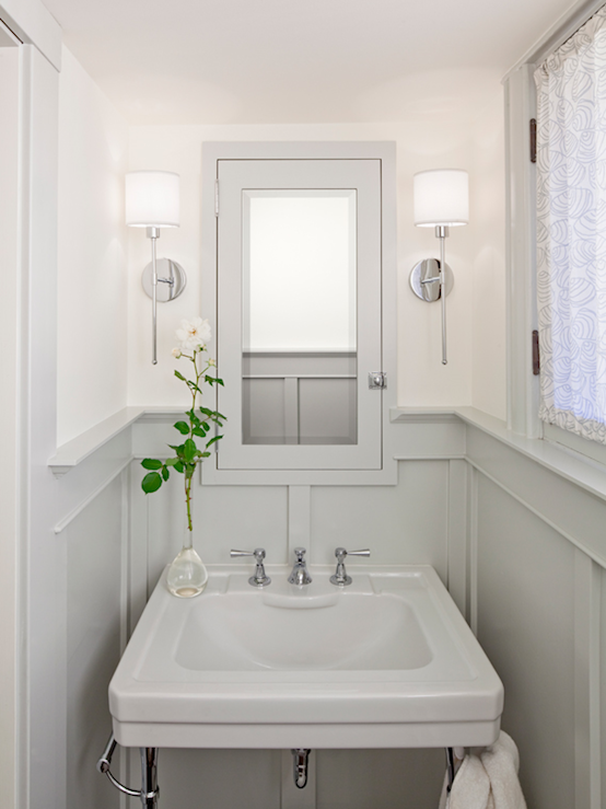 Bathrooms   Chrome Sconces Fixtures Gray Wainscoting Gray Pedestal Sink Gray  Medicine Cabinet Mirror Silk Drapes Soft Ivory Walls Paint Color Powder  Room ...