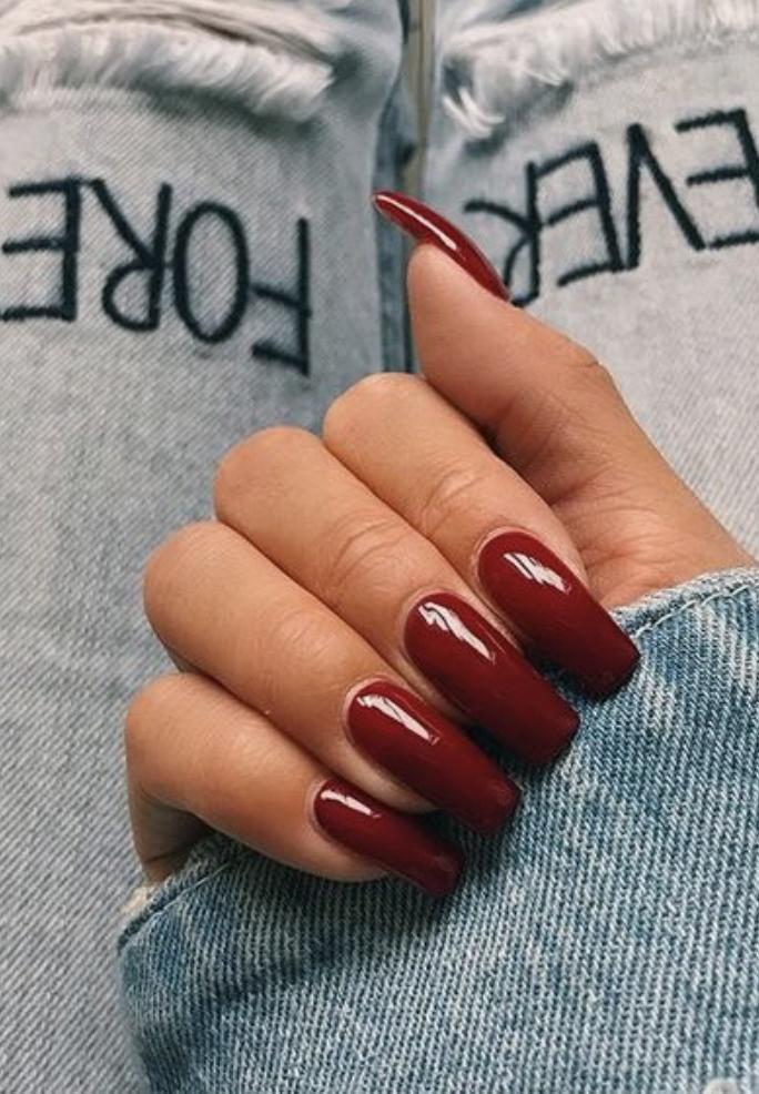 Best Dark Red Nail Polish On Square Fake Acrylic Nails Kendall Jenner Nails Modern Pamper Salon S Fake Acrylic Nails Red Acrylic Nails Square Acrylic Nails
