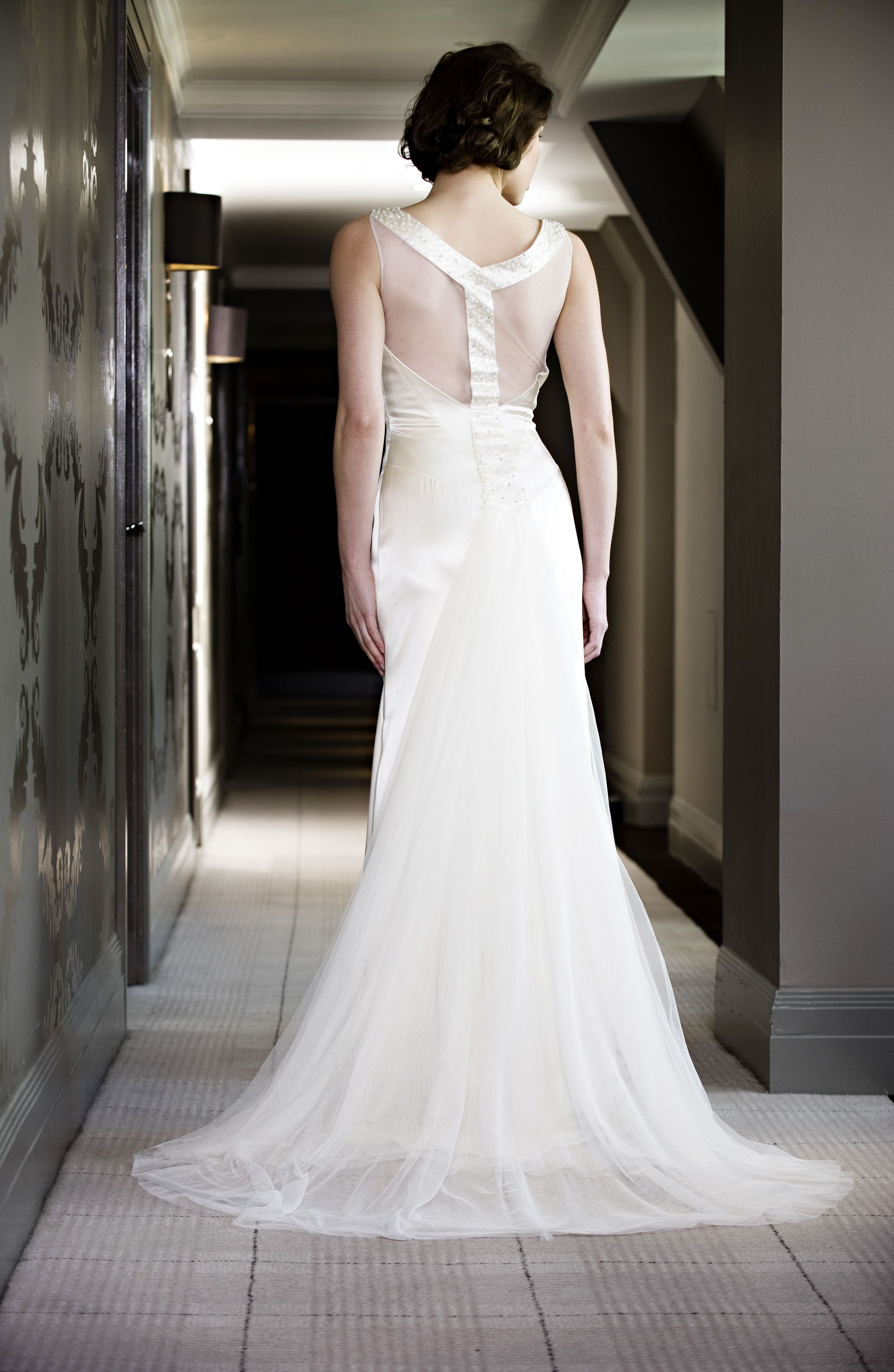 Elouise - slinky silk satin and silk tulle with amazing beaded back detail - by Madeline Isaac-James.
