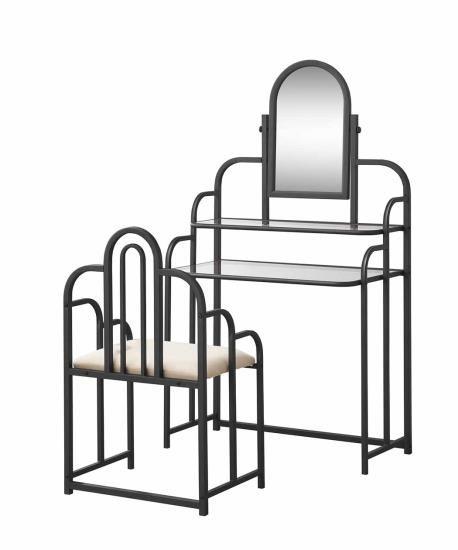 3 pc Dark iridescent brown metal vanity set with glass shelves3 pc Dark iridescent brown metal vanity set with glass shelves  . White Metal Vanity Set. Home Design Ideas