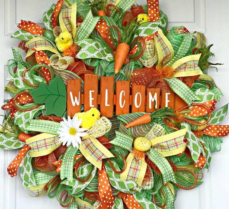 Welcome Wreath Spring Wreath for Front Door Summer Wreath Pastel Color Deco Mesh Wreath Deco Mesh Wreath Everyday Wreath