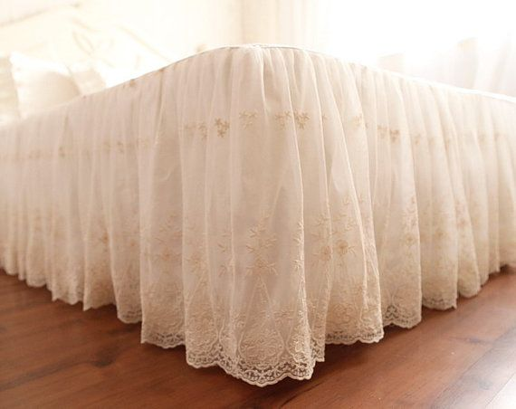 Made To Order Fairy Tale Double Layer Off White Lace Bed Skirt