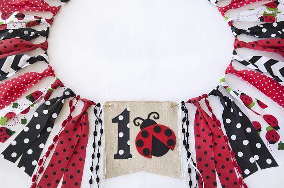 First Birthday Banner 1st Birthday Girl Ladybug highchair banner High Chair Banner Girl Highchair Banner 1st Birthday Banner