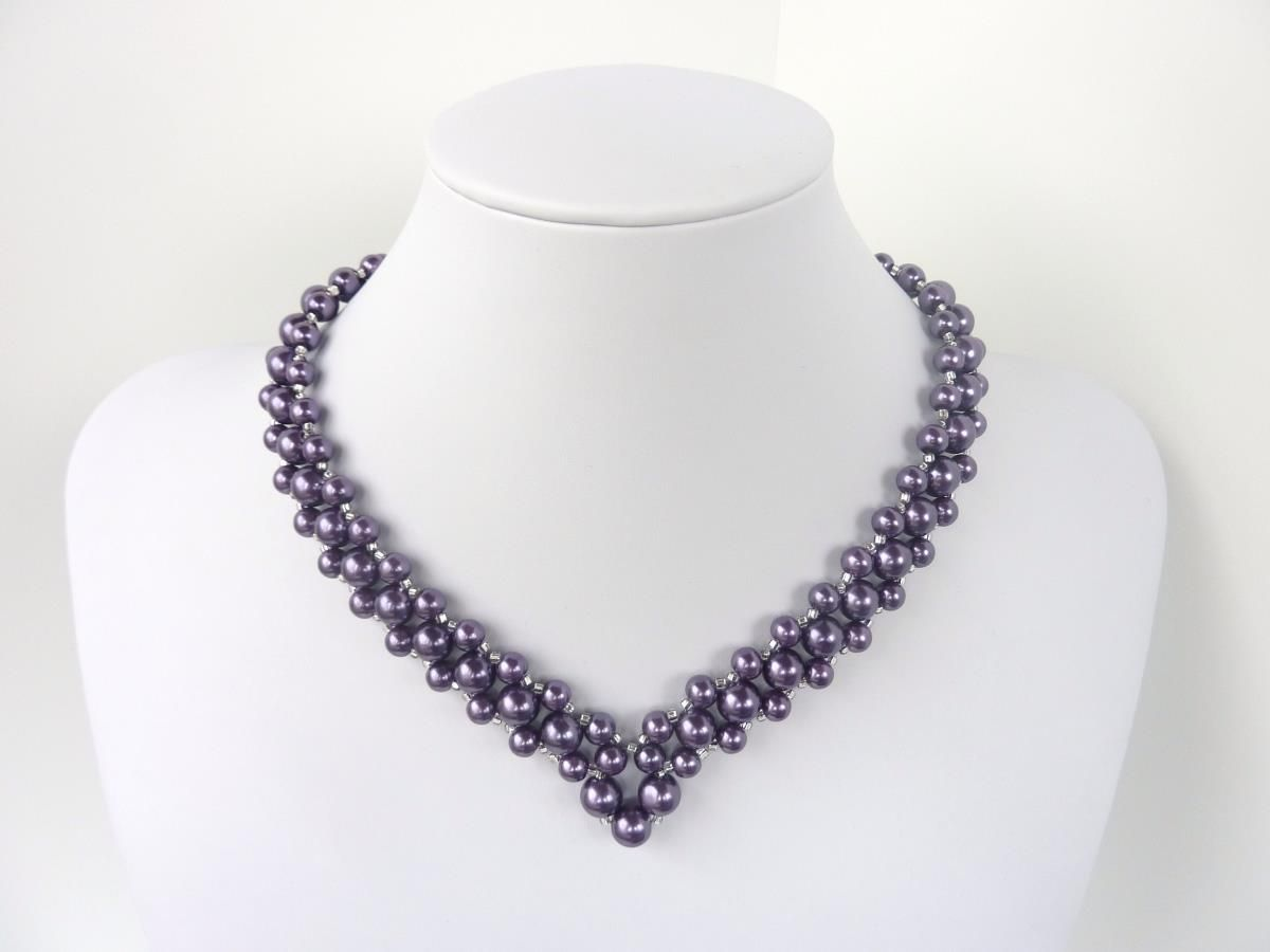 734 best bead necklaces images on pinterest knitting tutorials free beading pattern for necklace v pearls bankloansurffo Gallery