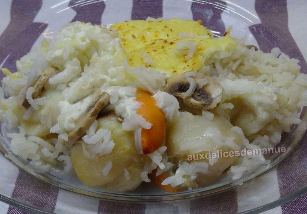 Leger et simple ! Cassolette aux noix de Saint-Jacques et champignons au riz crémeux