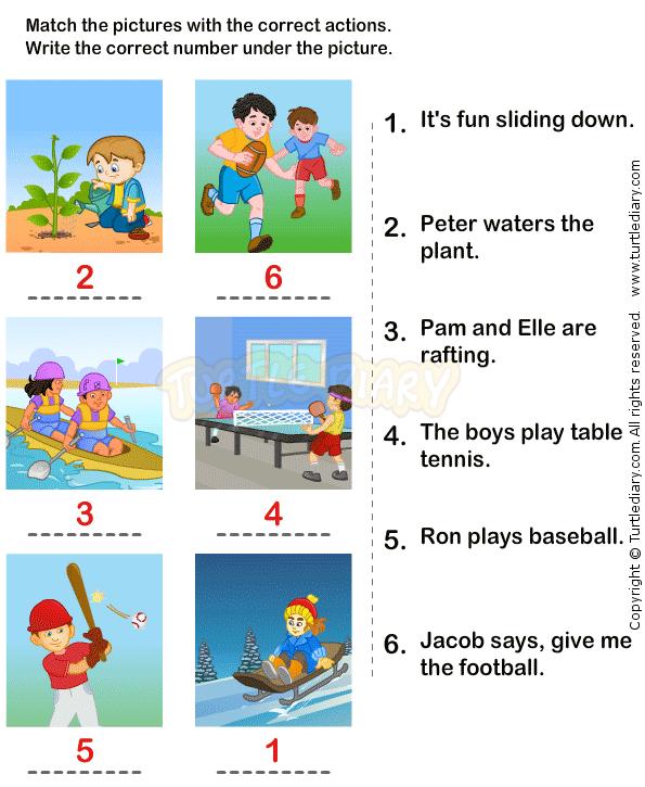Action Verbs Worksheets 14 - Esl-efl Worksheets - Kindergarten Worksheets  Kids Learning Activities, Phonics Kindergarten, Kindergarten Worksheets