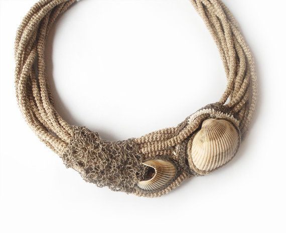 Unique Linen Necklace - Intricate Crochet Tubes - Natural Hemp and Seashells - Multistrand