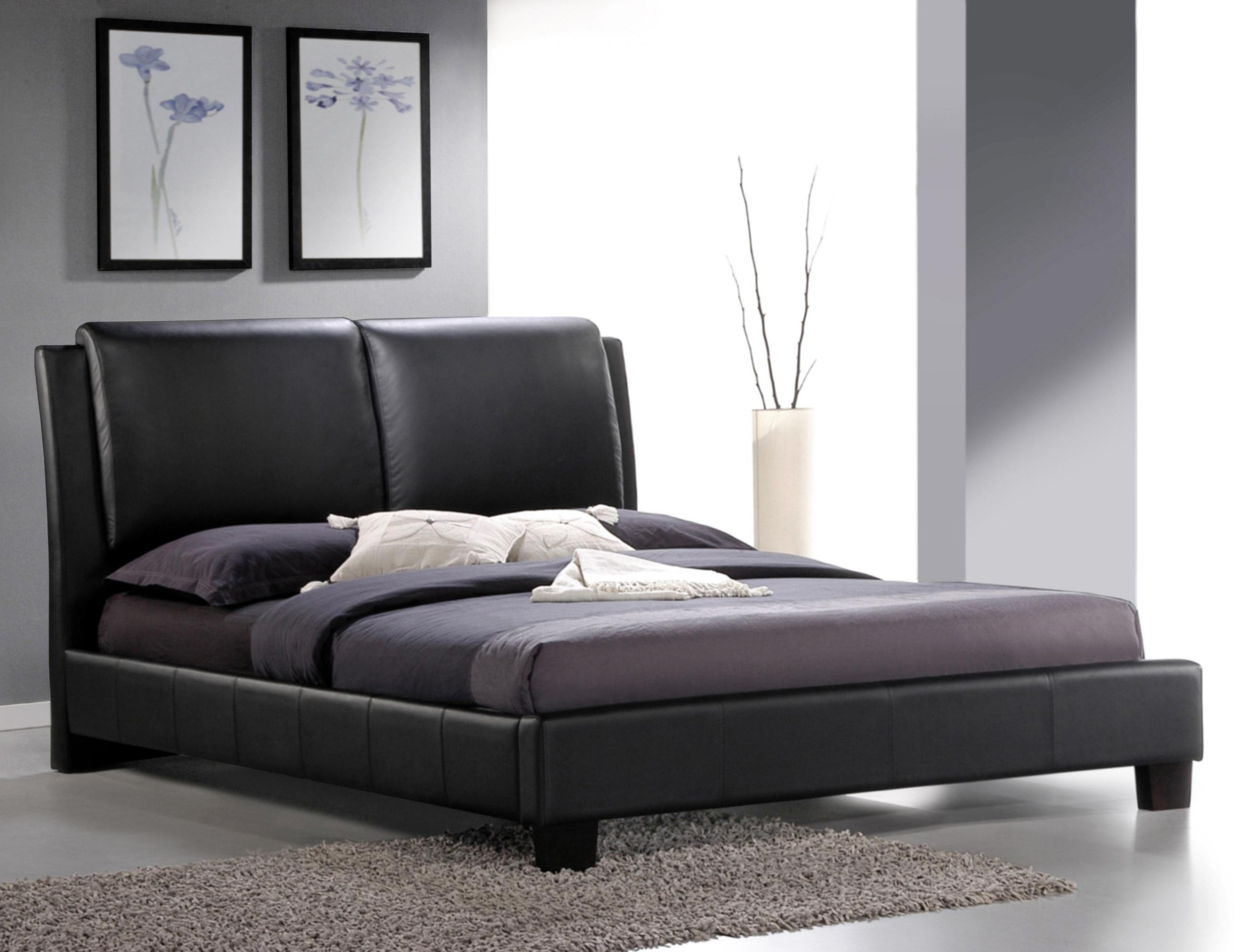 Roggan Complete Brown Platform Bed In Faux Leather Modern Bed