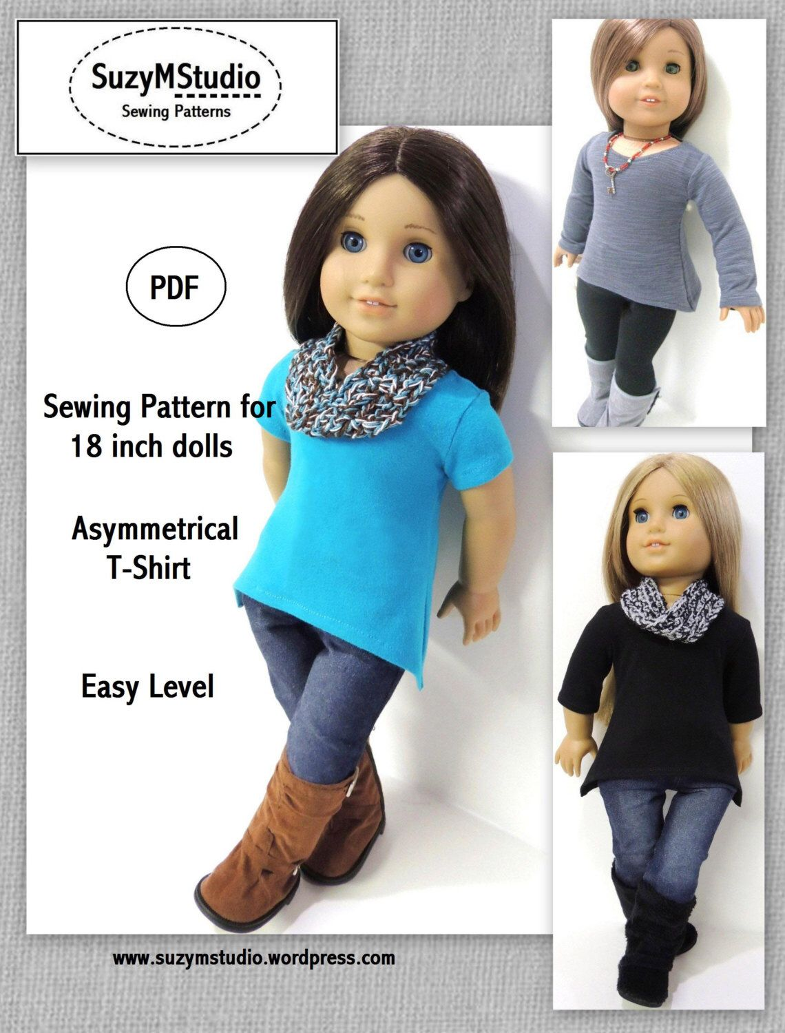 Asymmetrical T-Shirt - Doll Clothes Pattern for 18 inch Doll #bedfalls62