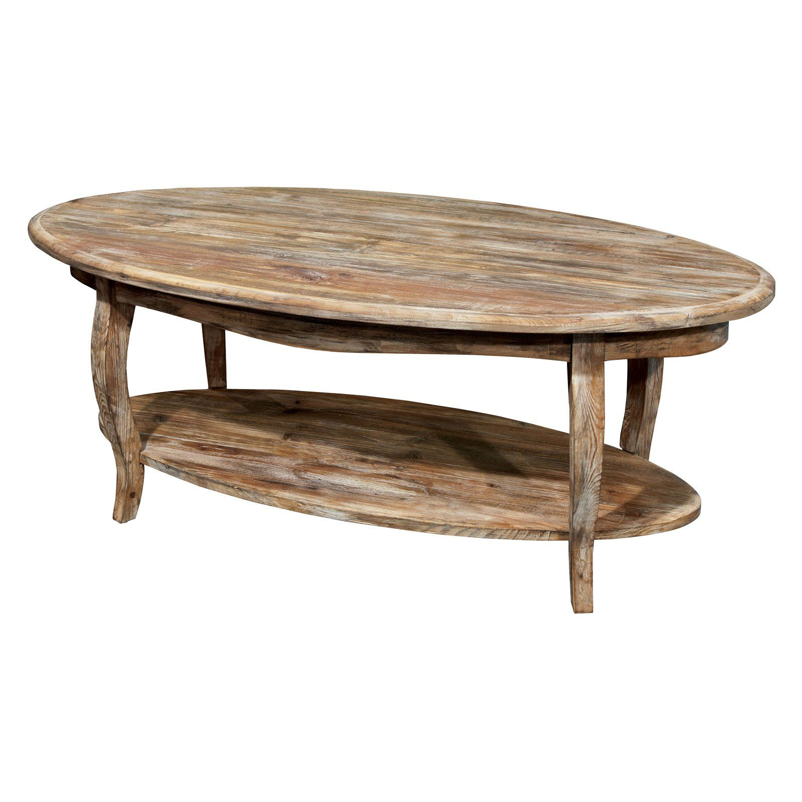 - Alaterre Rustic Reclaimed Driftwood Oval Coffee Table Oval