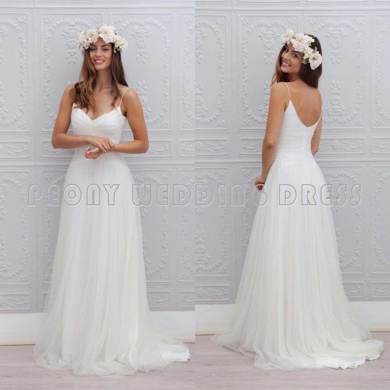 So Lovely Simple Tulle Pleat V Neck Spaghetti Straps Wedding Dress ...