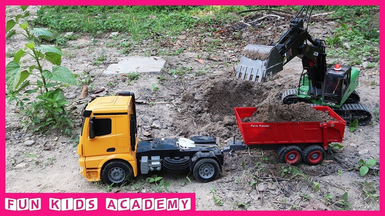 Construction Trucks For Kids Jcb Excavator At Work With Cat Truck And M Trucks Excavator Kids
