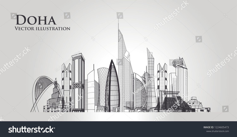 Doha city skyline. The capital of the country is Qatar ...